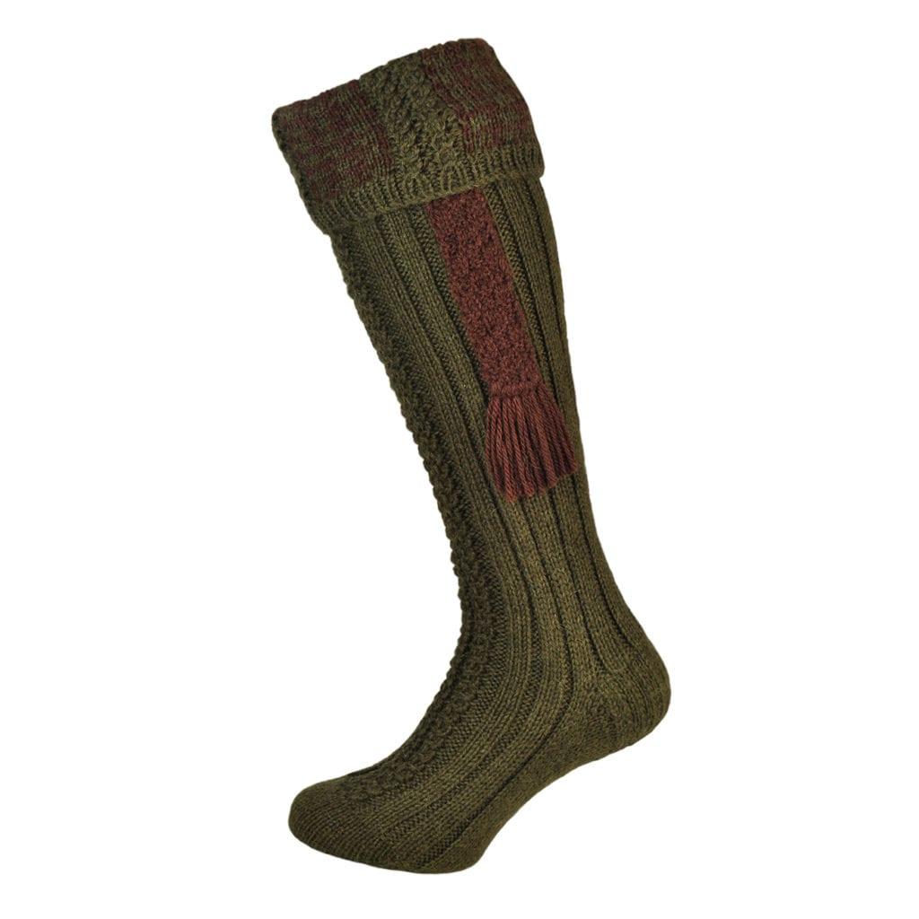 James Purdey Handknit Houndstooth Alpaca Sock And Garter Forest Green