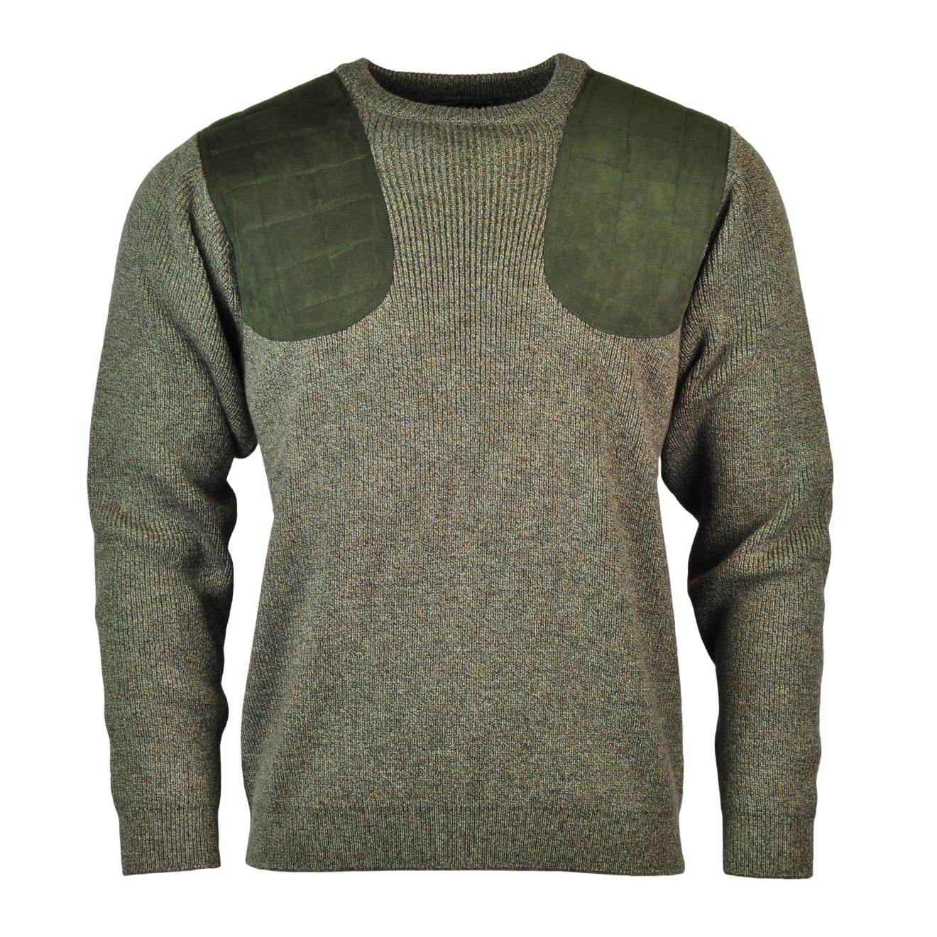 James Purdey Crew Neck Marl Shooting Sweater Khaki Green