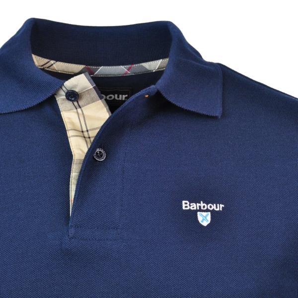 Barbour Tartan Cotton Pique Polo Navy