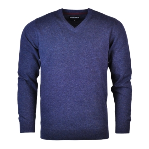 Barbour Essential Lambswool V Neck Sweater Indigo