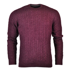 Barbour Essential Cable Crew Neck Sweater Merlot