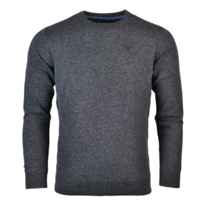 Barbour Essential Lambswool Crew Neck Sweater Charcoal