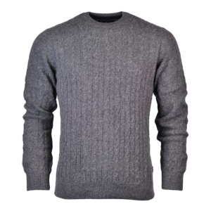 Barbour Essential Cable Crew Neck Sweater Grey Marl