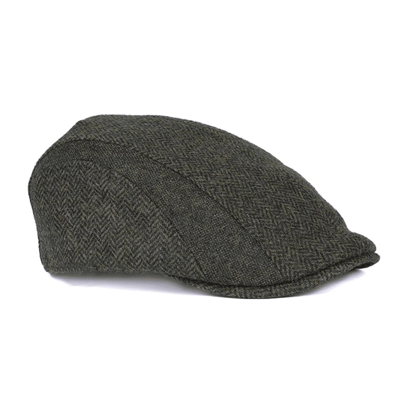 Barbour Herringbone Tweed Cap Olive - The Sporting Lodge ec8c4422232