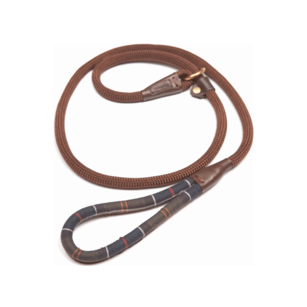 Barbour Tartan Trimmed Slip Dog Lead With Embossed Leather Barbour Logo Badge
