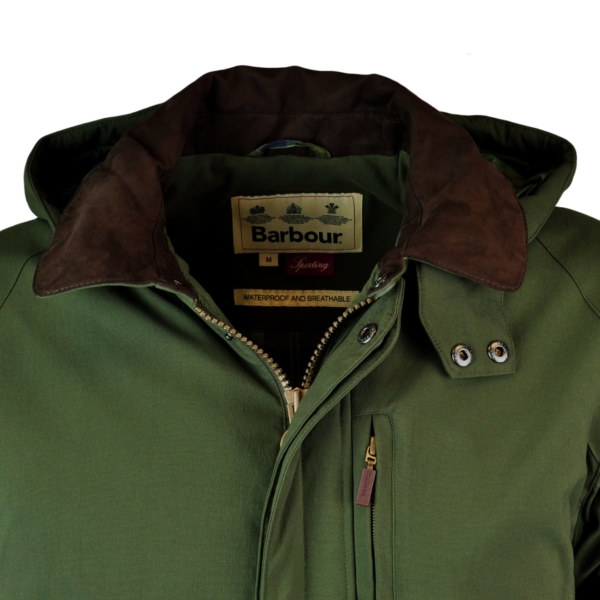 Barbour Bransdale Shooting Jacket Forest Green Collar Lined in Alcantara.