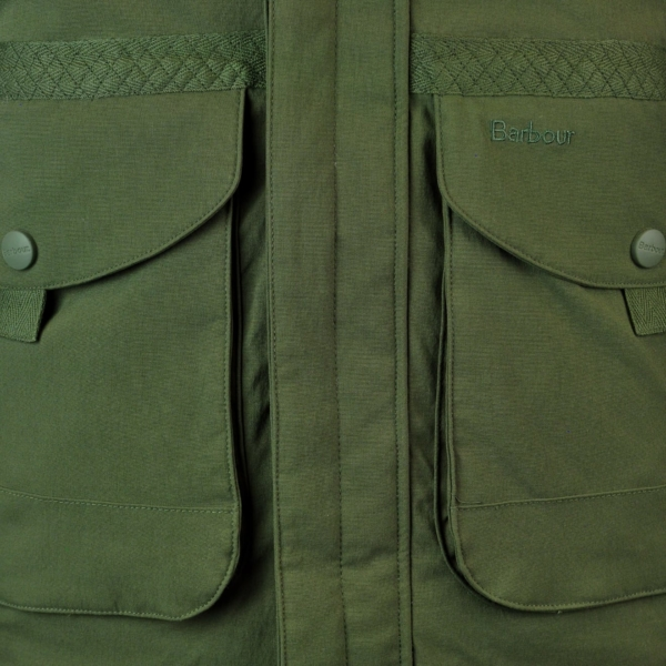 Barbour Bransdale Shooting Jacket Forest Green Bellow Pockets with Retainer Straps