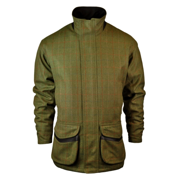 Barbour Moorhen Wool Jacket Olive/Brown Front With Leather Detailing on Collar & Pockets