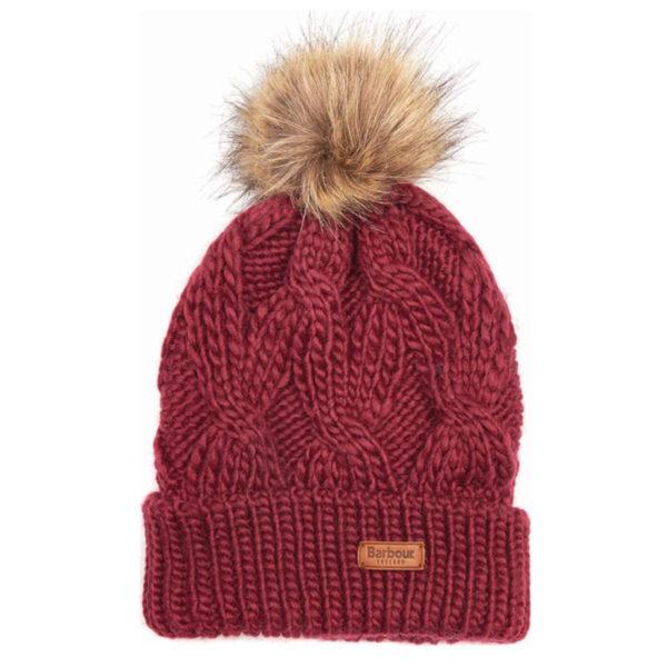 Barbour Womens Ashridge Beanie Hat Carmine