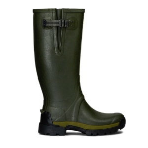 Hunter Balmoral Side Adjustable Bamboo Carbon Wellington Boots Green