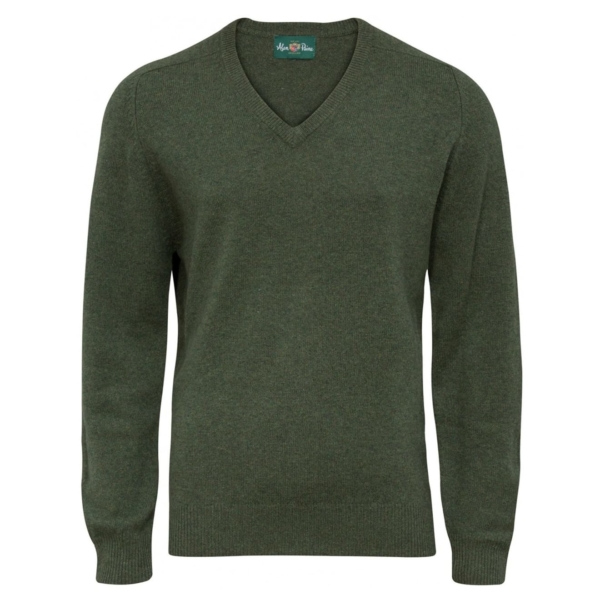 Alan Paine Burford V neck lambswool knit rosemary