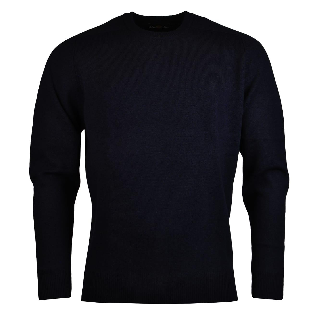 Alan Paine burford crew neck lambswool knit dark navy 2