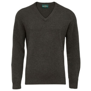 Alan Paine burford V neck lambswool knit seaweed
