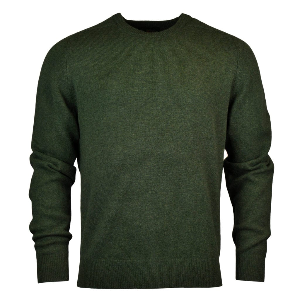 Alan Paine burford crew neck lambswool knit rosemary green