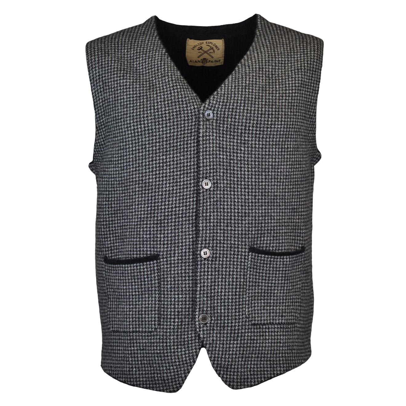 Alan Paine earnmore button knit waistcoat charcoal
