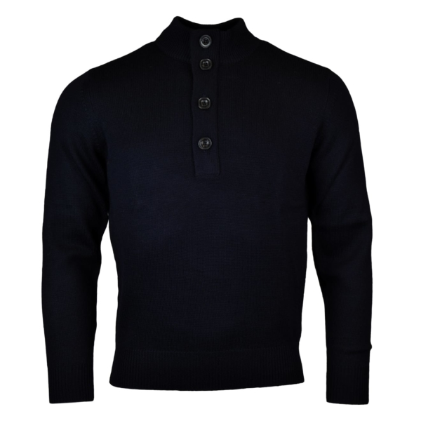 Alan Paine tain button half zip mock knit dark navy 2