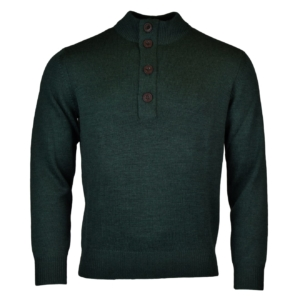 Alan Paine tain button half zip mock knit hunter 2