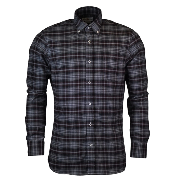 Alan Paine thornby check shirt grey black maroon