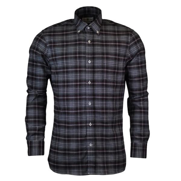 Alan Paine thornby check shirt grey black maroon