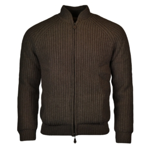 Alan Paine winterton zip front windstopper chunky knit leather 2