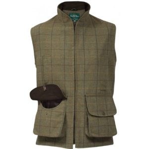 Alan paine rutland tweed shooting waistcoatr dark moss
