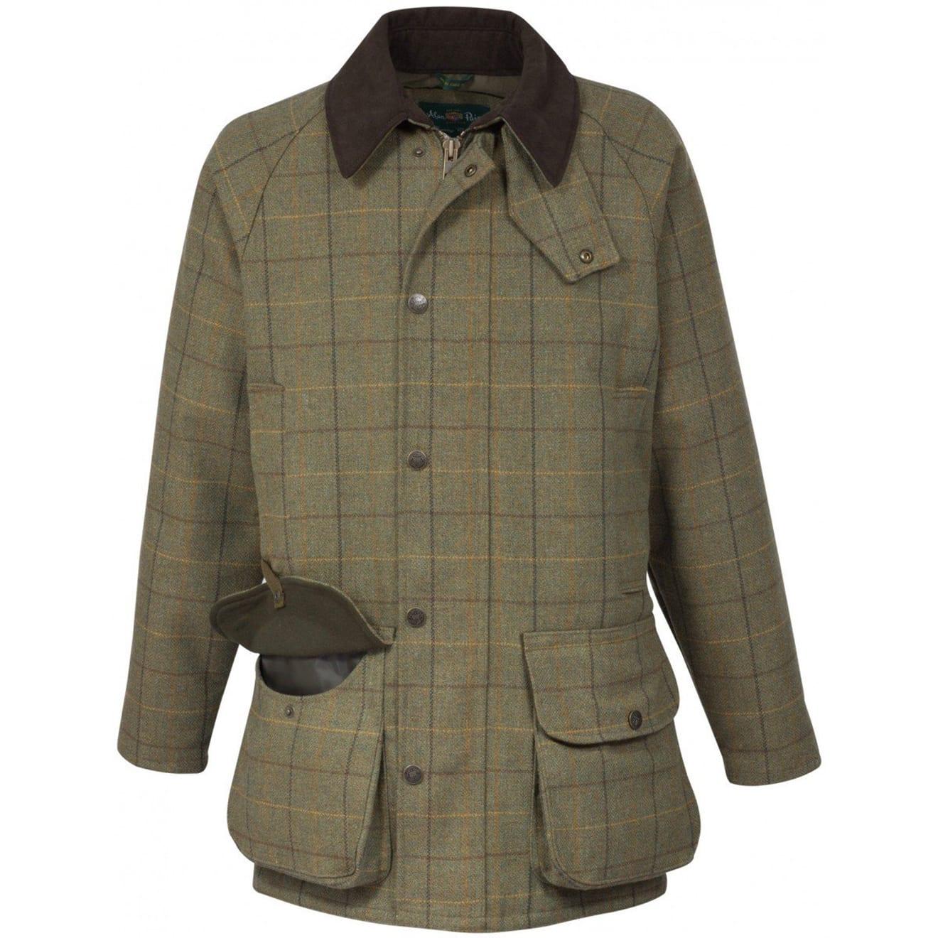 Alan paine rutland tweed waterproof shooting jacket dark moss