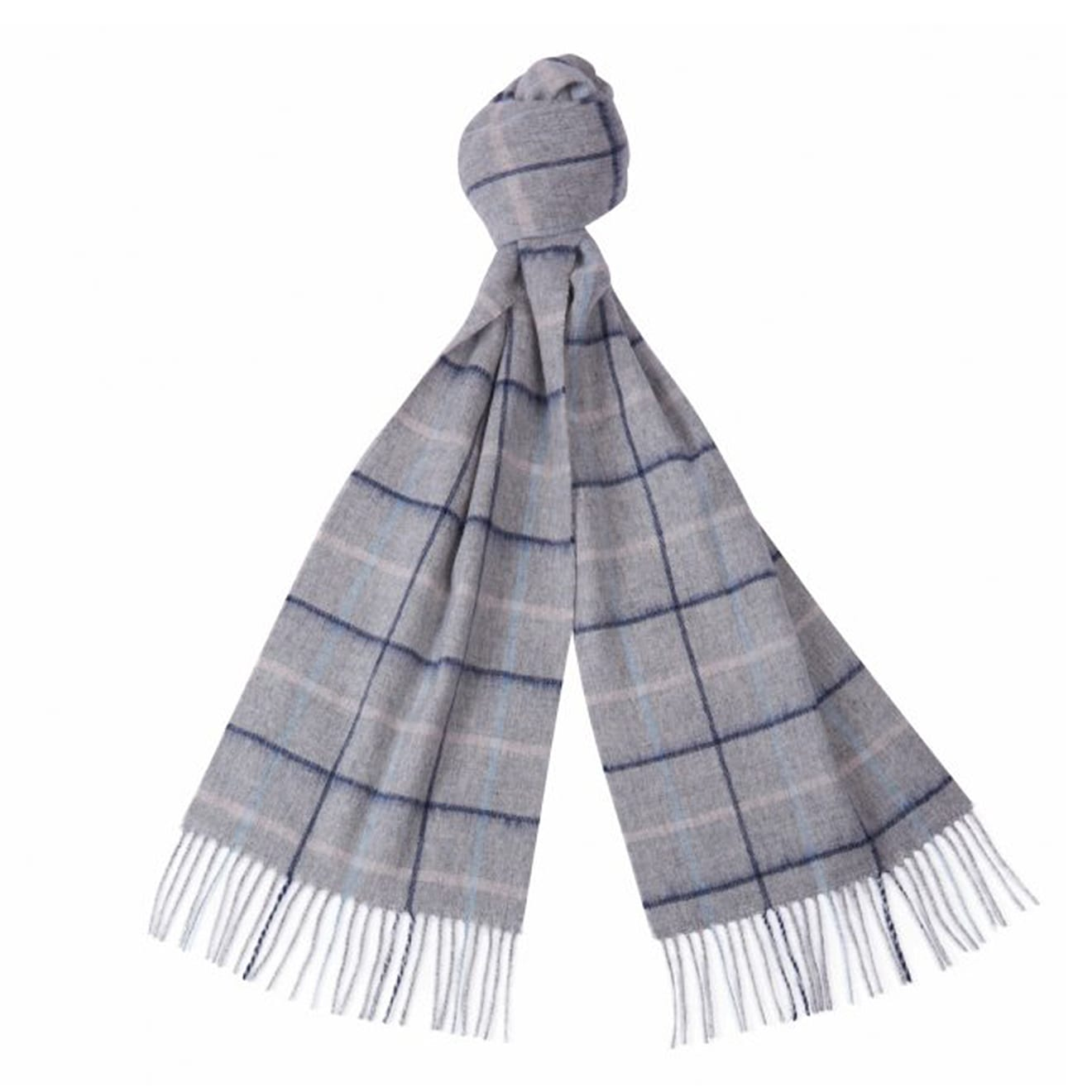 Barbour country tattersall scarf grey blue pink