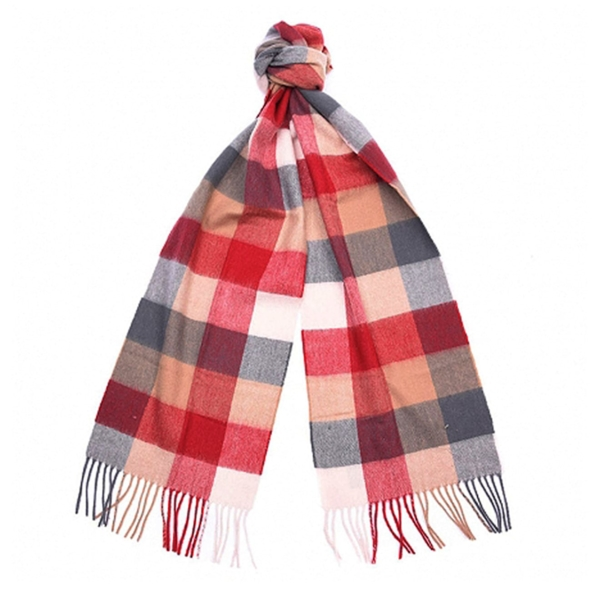 Barbour large tattersall scarf camel red