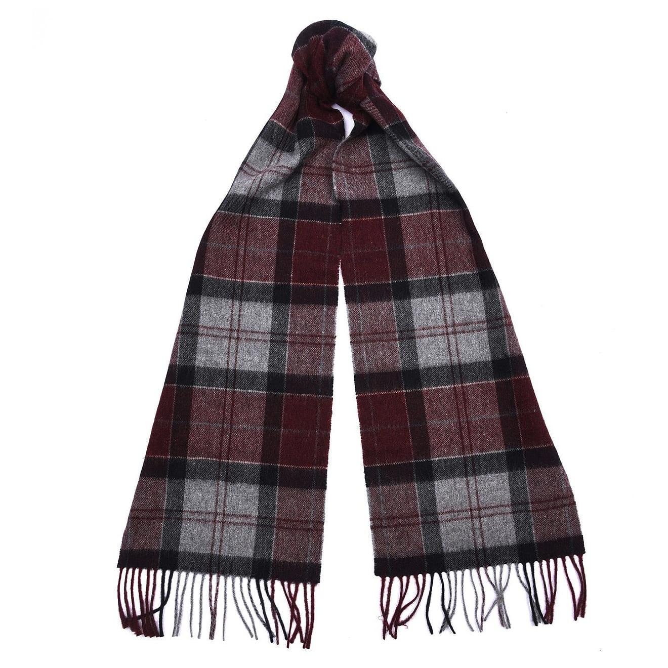 Barbour tartan scarf merlot grey