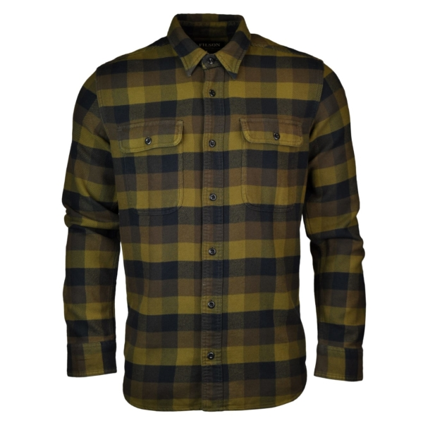Filson vintage flannel work shirt brown navy
