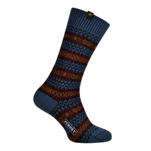 James Purdey short pattern sock petrol blue