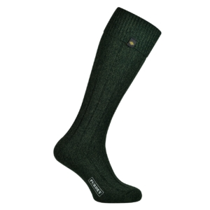 James Purdey womens long plain colour shooting sock forest green