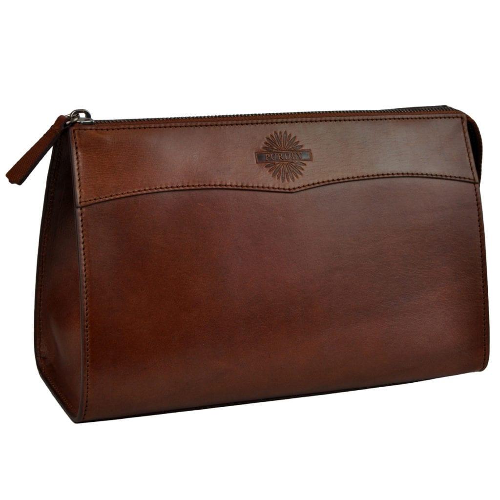 James purdey oak bark leather wash bag large purdey havana