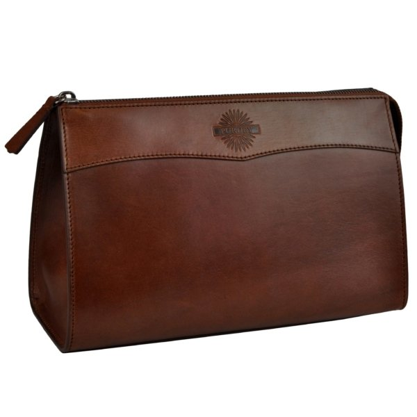 James purdey oak bark leather wash bag large purdey havana