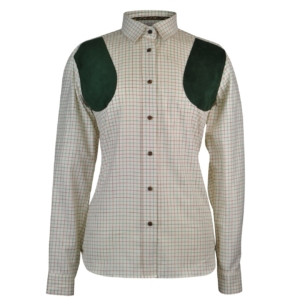 james purdey ladies alcantara patch tattersall shirt green 4