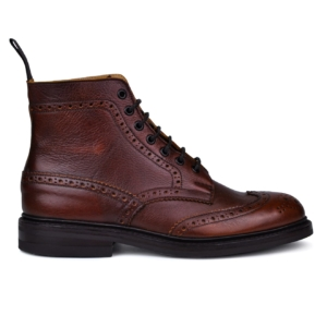 Trickers stow brogue boot dainite sole caramel kudu
