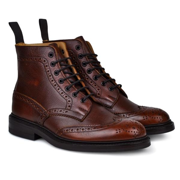 Trickers stow brogue boot dainite sole caramel kudu