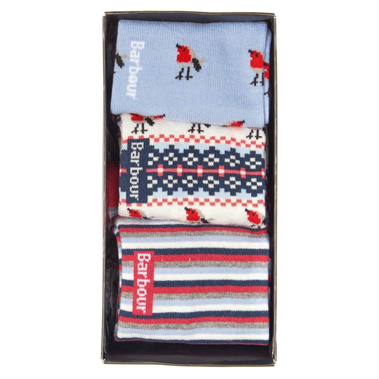 Barbour robin motif sock gift box set