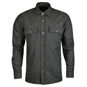 Grenfell gingham check wool overshirt white black