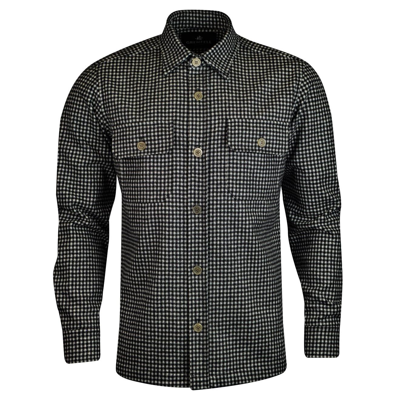 Grenfell gingham check wool overshirt white black
