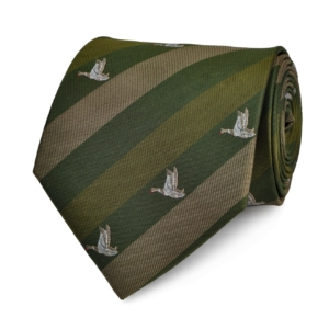 Traditional english flying ducks tie green