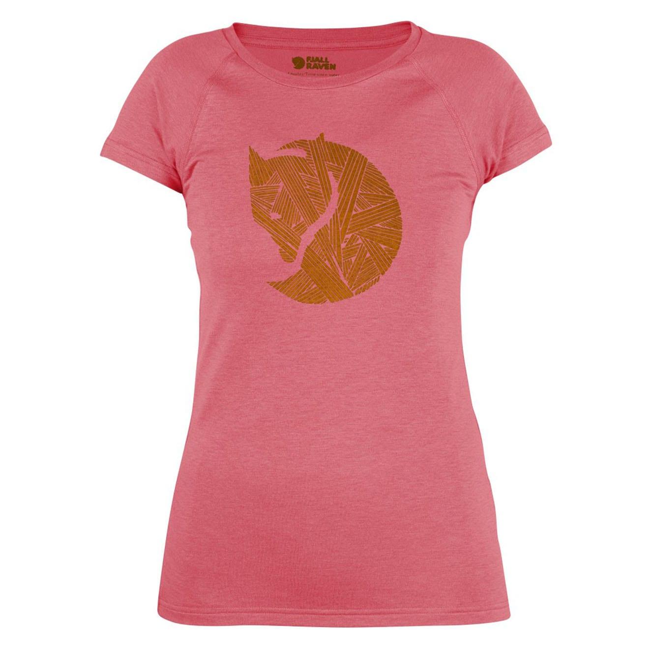 Fjallraven Womens Abisko Trail Print T-Shirt Peach Pink
