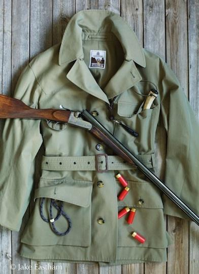 Grenfell Green Jacket with Shotgun and Cartridges
