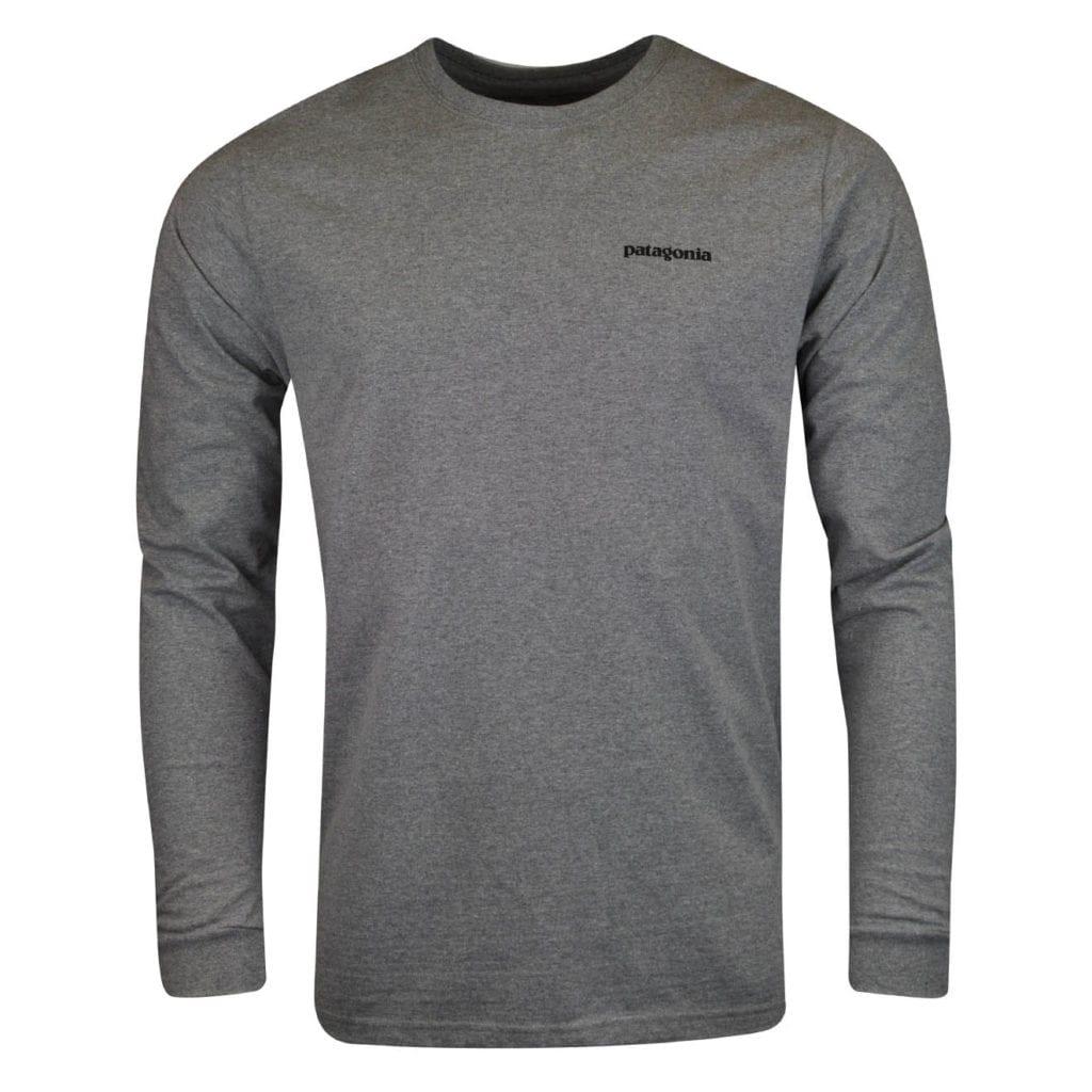 Patagonia long sleeve P6 logo responsibili Tee gravel heather