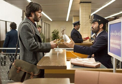 Ben Affleck as CIA Agent Tony Mendez with Westmorland Brady bag in Argo in airport scene.