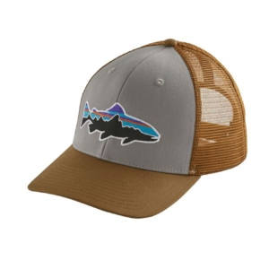 patagonia fitz roy trout trucker hat drifter grey coria