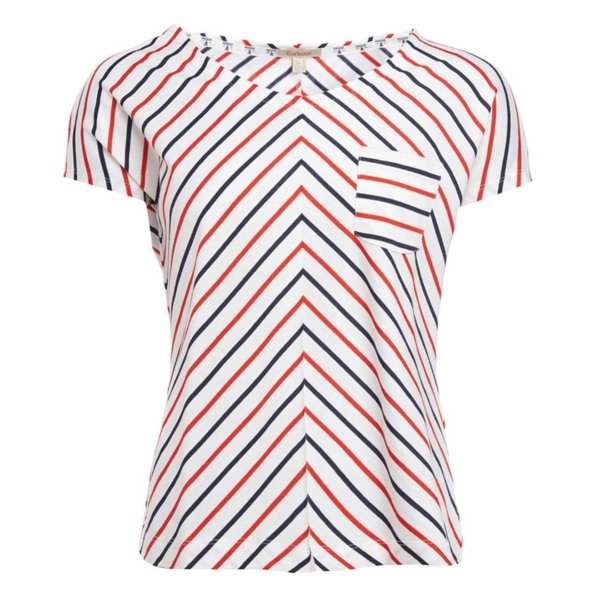 Barbour Womens Bamburgh Stripe T-Shirt white navy signal orange