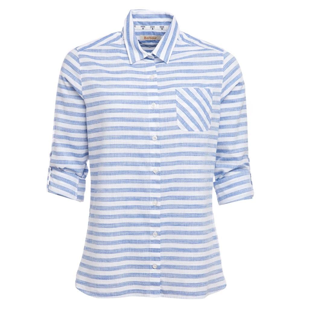 barbour craster shirt white navy