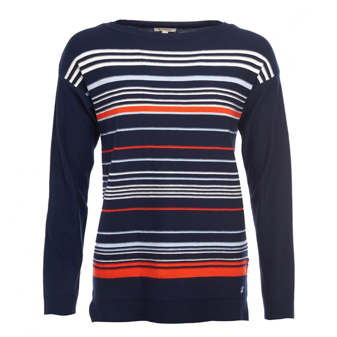 barbour whitby knit navy cloud signal orange