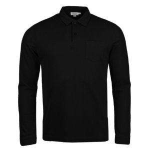 Sunspel Long Sleeve Riviera Polo Black